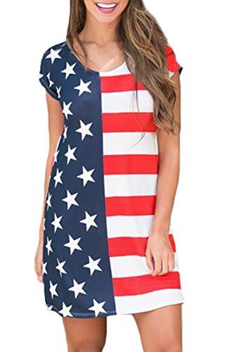 4th of July Women's UAS Loose Stripe Star Patriotic Short Sleeve T Shirt Dress