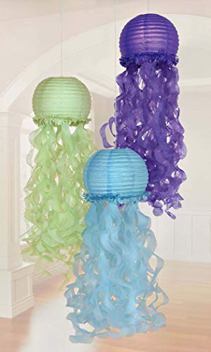 amscan- Jellyfish Lanterns 24.1cm-3 Pcs Mermaid Wishes