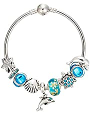 Variety of Design Charm Bracelet with Mickey Enamel Beads Women&Child Glass Fine Bracelet Fit Women Jewelry
