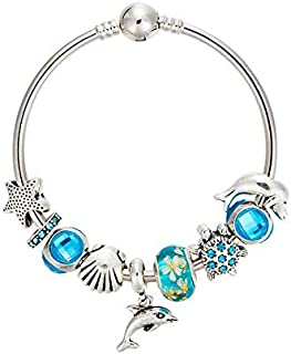 Variety of Design Charm Bracelet with Mickey Enamel Beads Women&Child Glass Fine Bracelet Fit Women Jewelry