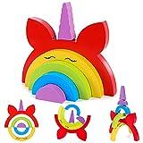 Bloques de Madera Arcoíris de Unicornio Juguetes Educativos Apilador de Arcoiris de Madera Puzzle de Anidamiento Bloques de Construcción Regalo de Juguete para Niños Niñas Bebés