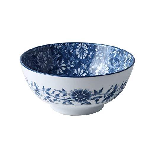 WEHOLY Abendessen Keramik Geschirr Schüssel Europäische Obst Salatschüssel Big Ramen Suppe Schüssel Nudelsalat Reis Nudel Schüssel (Farbe: Blau)