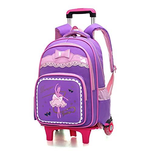 YUTCRE Mochila con Ruedas Escolar, Mochila Escolar Niños Carro Mochila Trolley Multifunción Equipaje Mochila de Viaje para Niña/Niños/Estudiante (Color : Purple, Size : 45 * 32 * 16cm)