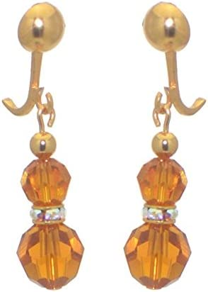 AMUNET gold plated topaz yellow crystal clip on earrings