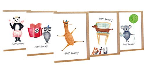 Geburtstagskarte lustig Happy Birthday Tiere 5er Set - Handmade - 100% Recyclingpapier – Glückwunschkarten-Set mit Umschlag Geburtstag Geburtstagskarten Glückwunschkarte Grußkarte Geschenkkarte