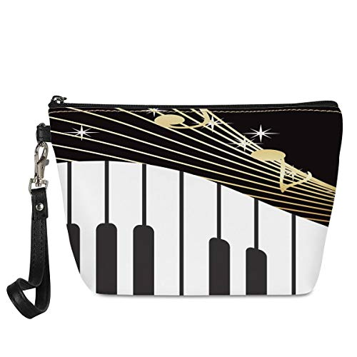 HUGS IDEA Music Note with Piano Keyboard Print Ladies Storage Portable Handbag Toiletry Make Up Pouch Zipper Clutch Purse