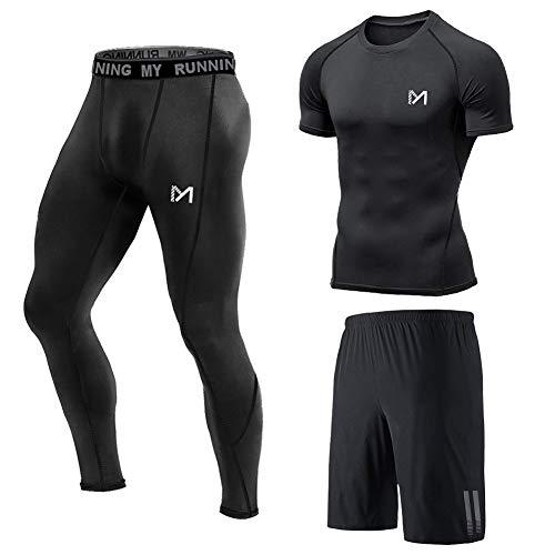MEETYOO Kompressionsshirt Herren, Leggings Sport Laufhose Funktionsshirt Männer Kompressionshose Funktionswäsche für Running Gym Fitness