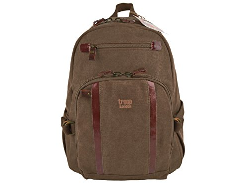 Mens Ladies Canvas & Leather Backpack Rucksack Troop of London Bag Travel (Brown)