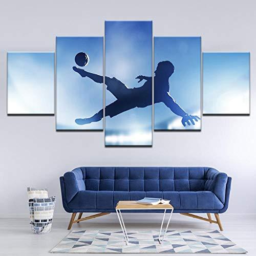 Wslin Canvas afbeelding, voetballer Che Spara in lens 5 stuks muurkunst uit modulaire print voor huis druk op canvas 150 x 80 cm