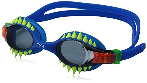 TYR Kids Swimple Spikes Googles, Smoke/Blue, One Size
