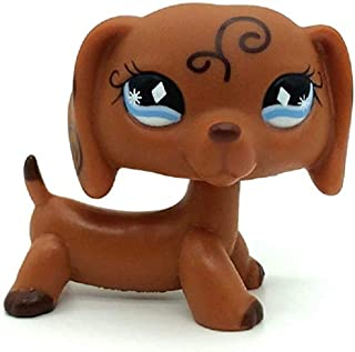 Mini Little Pet Shop, LPS Toy Rare Brown Dachshund Dog Puppy Diamond Eyes Animal Girl Boy Kid Gift