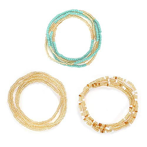 SUOSDEY Waist Bead Chains Set African Elastic Belly Bead for Weight Loss Jwelry Fashion Body Accessory Bikini Beads for Women Girls