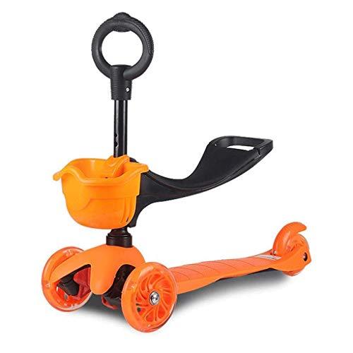 ygqtbc Scooters niños del niño con los asientos, 3 Kick scooter de rueda de altura ajustable extraíble asiento ajustable, rueda hacia arriba de entretiempo de niños Niños Niñas 2-8 años ( Color : A )