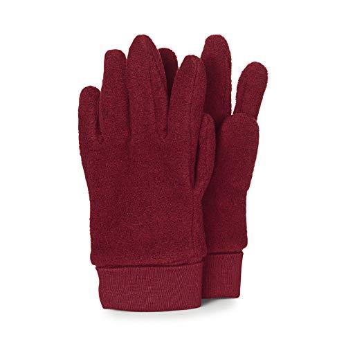 Sterntaler Fleece-Fingerhandschuhe mit elastischem Umschlag, Alter: 12-14 Jahre, Größe: 7, Dunkelrot