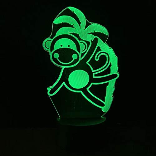Aap nachtlampje voor kinderen 3D illusie lamp 7 kleuren wijzigen met afstandsbediening sfeerlicht, vakantie en verjaardagscadeau voor jongens meisjes