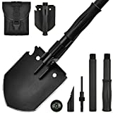 Yeacool Camping Shovel Folding, Tactical Etool, Army Ultimate Survival Spade, Portable Military Multitool Pickaxe for Entrenching, Digging and Off Roading
