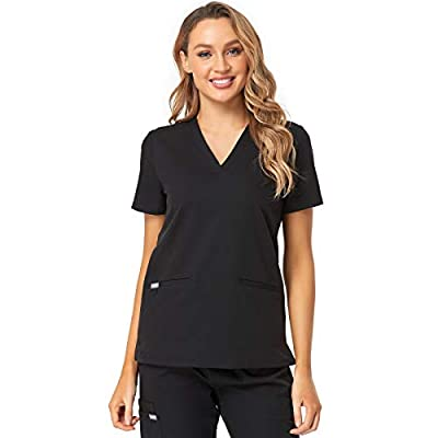 COMENII Scrub Tops for Women, 3 Pocket Stretch V-Neck Tailored Fit Workwear, Anti-Wrinkle Medical Scrubs for Women?Black XS?
