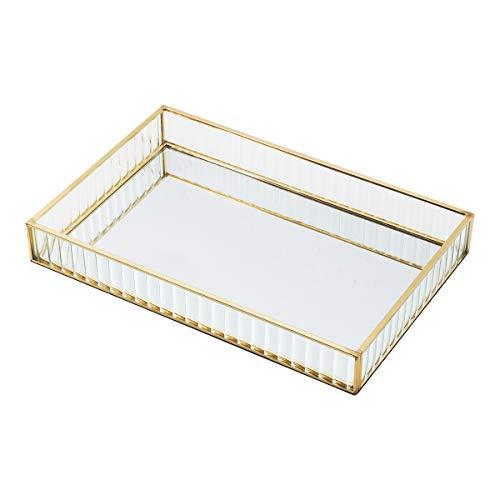 ZHIYOU Decorative Tray Jewelry Mirror TrayPerfume TrayCosmetic Tray for BedroomDresser Rectangular Gold Vanity Tray Make up Perfume Cosmetic Organizer Storage for Bathroom