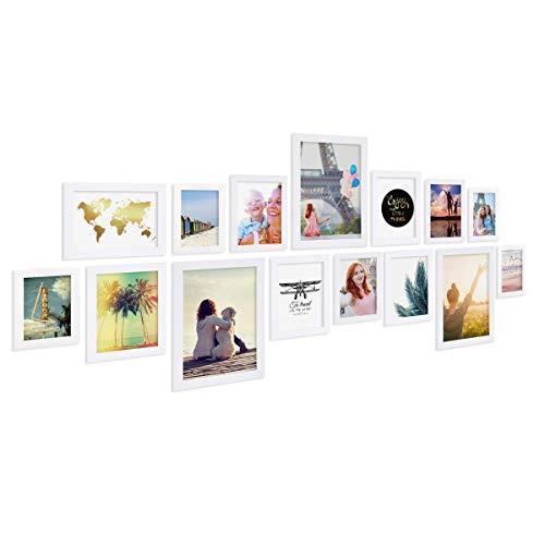 Photolini Juego de 15 Marcos Basic Collection Modernos, Blancos de MDF, Incluyendo Accesorios/Collage de Fotos/galería de...
