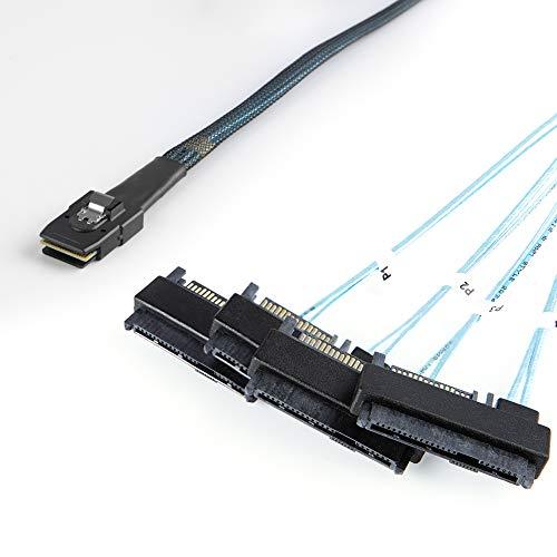 CableCreation Internes Mini-SAS-Kabel 36-Pin (SFF-8087) zu (4) 29-Pin-Stecker (SFF-8482) mit SATA-Stromanschluss, 1 m