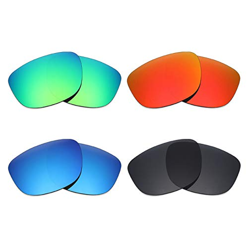Mryok 4 pares de lentes polarizadas de repuesto para gafas de sol Oakley Holbrook R – negro/rojo fuego/azul hielo/verde esmeralda
