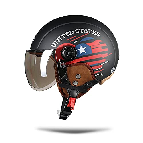 LIONCIANO Cascos De Motocicleta para Hombres y Mujeres, Cascos De Ciclomotor con Visera Reflectante, Que Protege La Seguridad Vial De Los Usuarios(Estrella Roja Negra Mate, Lente Plateada)