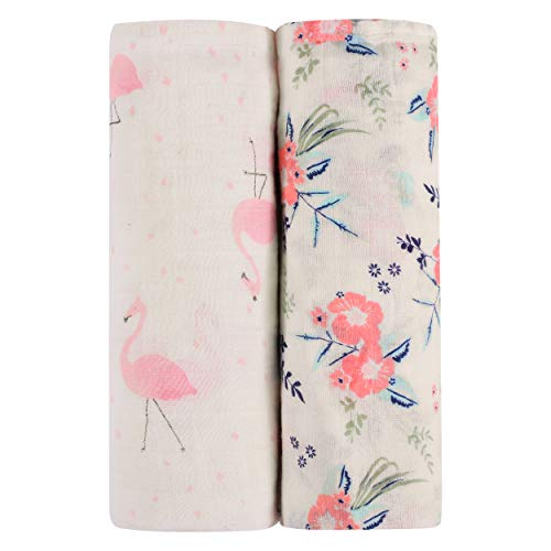 Newborn Essentials - Super Soft Muslin Baby Swaddle Blankets - Pack of 2 - Bamboo & Cotton Blend - Pink & Blue Floral Patterns for Girls & Boys - For Receiving, Swaddling, Covering Strollers & Nursing