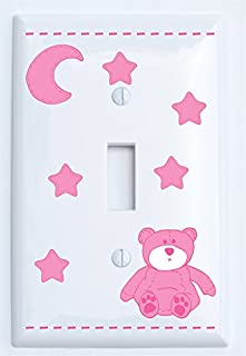 Pink Teddy Bear Light Switch Plate Single Toggle Covers with Pink Moon and Stars/Teddy Bear Nursery Decor (Single Toggle)