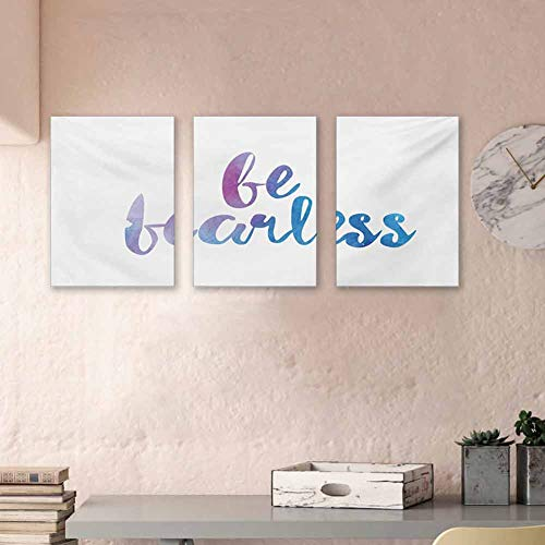 MartinDecor Quote Paintings Be Fearless Text Expression in Watercolor Style with Smooth Color Changes 3D Painted On Canvas Framed Ready to Hang, 24'x47'x3 Panels Lilac White and Blue