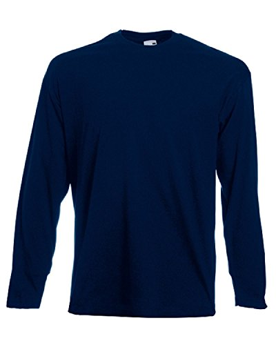 Fruit of the Loom Herren Valueweight Long Sleeve T-Shirt, Dunkles Marineblau, L