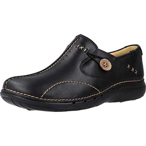 Clarks Un Loop Wide Fit - Black Leather