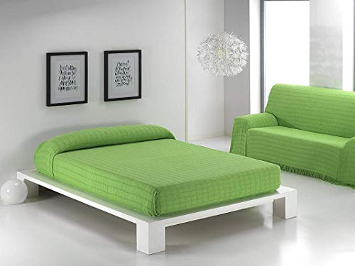 BENEDETTAHOME Colcha Foulard Multiusos Mariola para sofá y para Cama, Algodón-Poliéster 125x180cm. Pistacho.