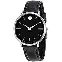 Movado Ultra Slim Black Leather Women's Watch