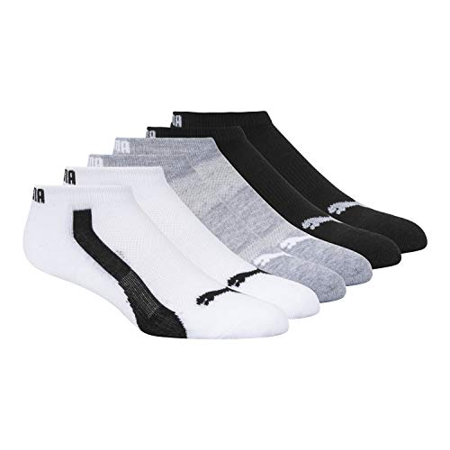 Puma Women's 1/2 Terry Low Cut Athletic Running Sock 6-Pack, White Traditional, 9-11
