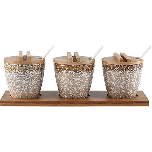 Spice opslag keramische kruiden box set huishoudelijke keuken set met lepel en deksel Japanse stijl kruiden box Kruiden…