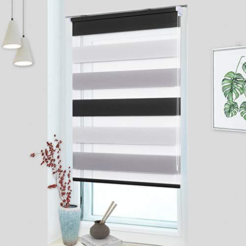 OUBO Doppelrollo Klemmfix ohne Bohren 60 x 150 cm (BxH) Weiß-Grau-Anthrazit Fenster Duo Rollo - lichtdurchlässig und verdunkelnd Wandmontage Deckenmotage Sichtschutz Rollo mit Klemmträgern