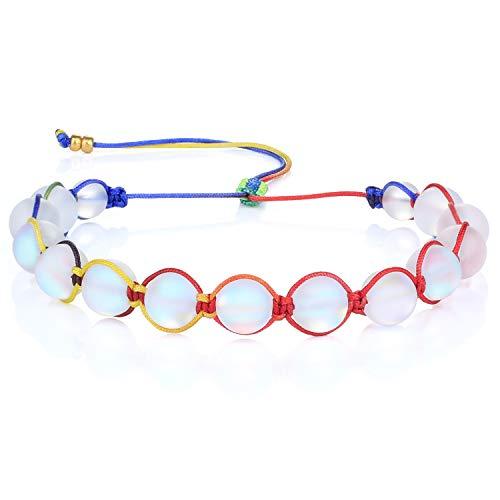 KANYEE Bracelets De Perles Lune Bracelet Rang Coloré Bracelets De Corde Faits à La Main pour Femmes – 23A