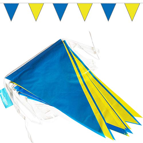 goodymax® Wimpelkette 10 m Blau-Gelb - viele weitere Farben & Farbkombinationen zur Auswahl