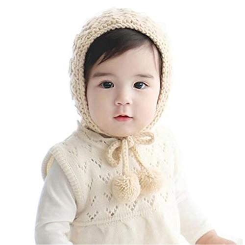 Verala Baby Bonnet, Crochet Beanie Hat Knit Winter Cap with Pompoms for Baby Girls Boys Toddler Infant Beige, Large