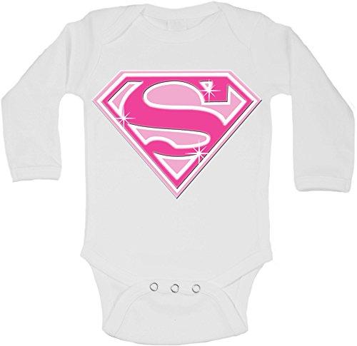 Super Girl – personnalisé bébé à manches longues gilets bodies bébé Grandit – Fille – Blanc – 18–24 mois