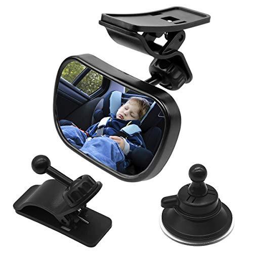 Natuce 1Bebé Espejo Retrovisor + 2 Soportes, Inastillable Espejo Coche, 360° Ajustable Espejo con Clip y con Ventosa, Espejo de Coche, Espejo de Seguridad para niños, Espejo retrovisor del Coche