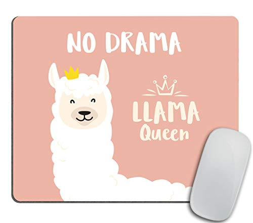 Llama Gaming Mouse Pad - Cute Llama Design with No Drama Llama Queen Motivational Quote Rectangle Non-Slip Rubber Mousepad