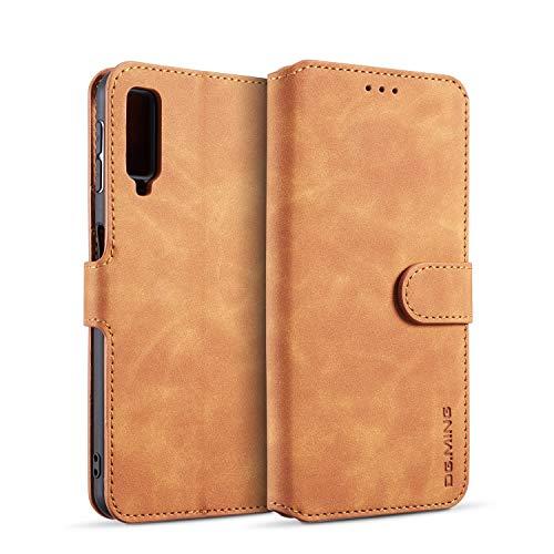 zanasta Echt Ledertasche kompatibel mit Samsung Galaxy A7 (2018) Hülle Premium Leder Tasche mit Kartenfächern, Schutzhülle Braun