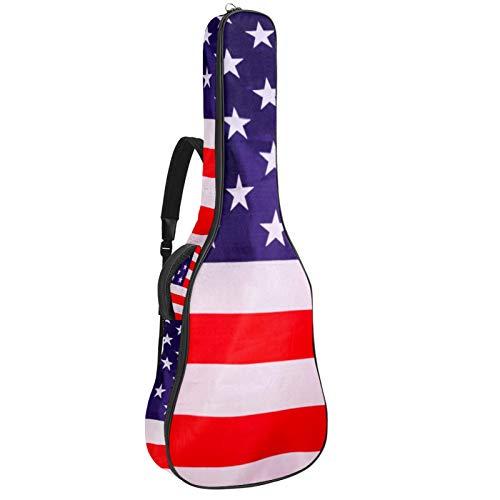 Funda para guitarra acústica con acolchado grueso, impermeable, doble correa ajustable para el hombro, para guitarra, bandera americana, color blanco