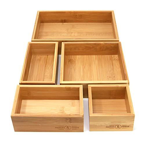 Organisateur de tiroir en bambou 5 pièces | Ensemble de 5 boîtes de rangement en bois durable | Tailles Assorties | Polyvalent et configurable | M&W