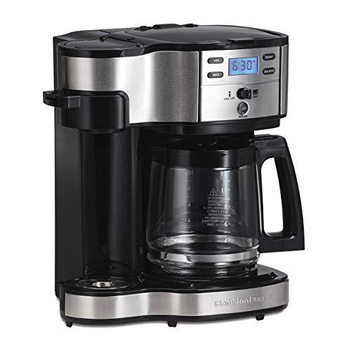 Hamilton Beach (49980A) Single Serve Coffee Maker and Coffee Pot Maker, Programmable, Black/Stainless Steel (Renewed)