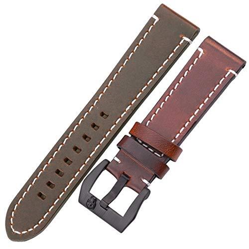 HNGM Correas para Relojes de Hombre 18mm 20mm 22mm 24mm Strap de la Vendimia de Las Mujeres Correa de Las Mujeres Correa de la Pulsera (Band Color : Dark Brown Black, Band Width : 22mm)