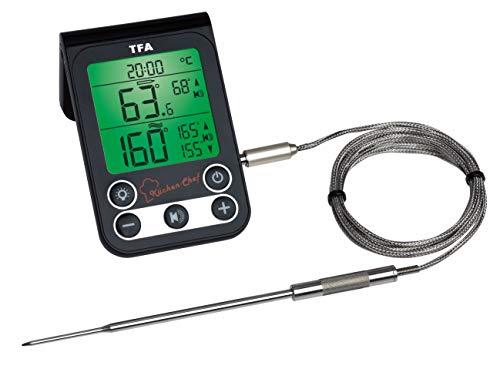 TFA Dostmann Küchen-Chef Digitales Grillthermometer/Bratenthermometer, Kontrolle der Kerntemperatur und Garraumtemperatur, mit Knickschutz und Alarmton