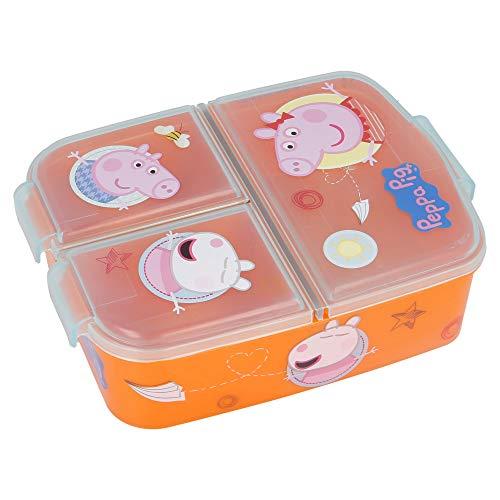 PEPPA WUTZ   Brotdose mit 3 Fächern für Kinder - Kids Sandwich Box - Lunchbox - Brotbox BPA frei   PEPPA PIG