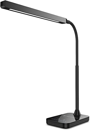 TaoTronics 10W LED Desk Lamp with Flexible Gooseneck, 5 Color Modes x 7 Levels Dimmer - Touch Sensitive Control, Memory Function, Dimmable Table Reading Lamp for Office, Study & Bedroom